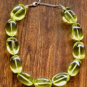 Robert Rose Chunky Lucite Chartreuse Necklace